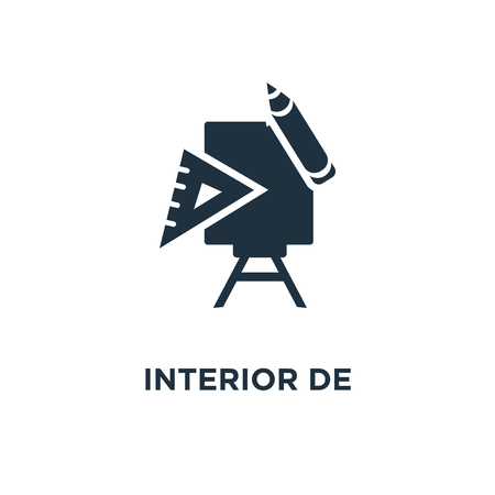 Interior design icon. Black filled vector illustration. Interior design symbol on white background. Can be used in web and mobile.