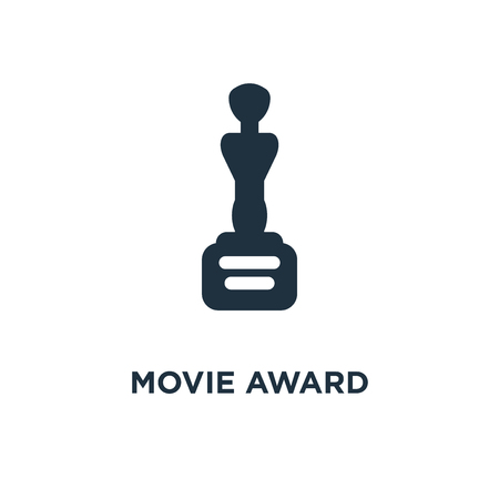 Movie Award icon. Black filled vector illustration. Movie Award symbol on white background. Can be used in web and mobile.
