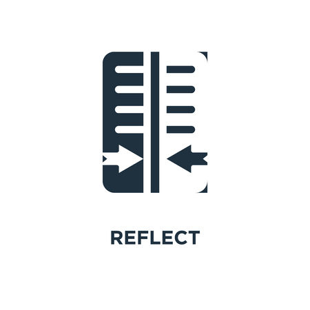 Reflect icon. Black filled vector illustration. Reflect symbol on white background. Can be used in web and mobile. Иллюстрация