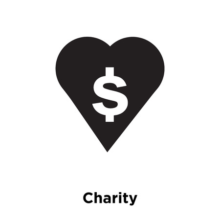 Charity icon vector isolated on white background, logo concept of Charity sign on transparent background, filled black symbol