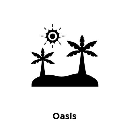 Oasi icona vettoriale isolato su sfondo bianco, logo concetto del segno di oasi su sfondo trasparente, riempita simbolo nero