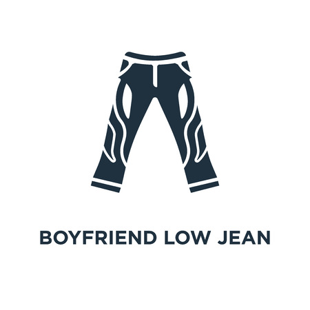 Boyfriend Low Jean icon. Black filled vector illustration. Boyfriend Low Jean symbol on white background. Can be used in web and mobile.