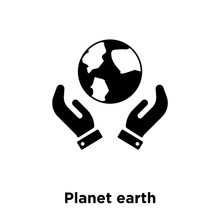 Planet earth icon vector isolated on white background, logo concept of Planet earth sign on transparent background, filled black symbol