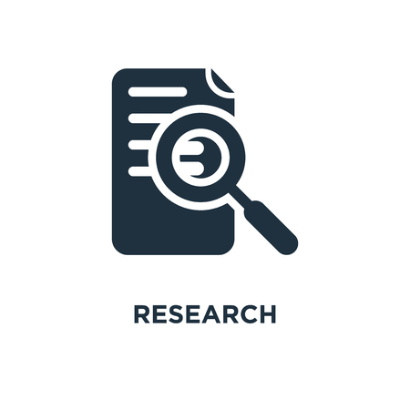 Research icon. Black filled vector illustration. Research symbol on white background. Can be used in web and mobile.
