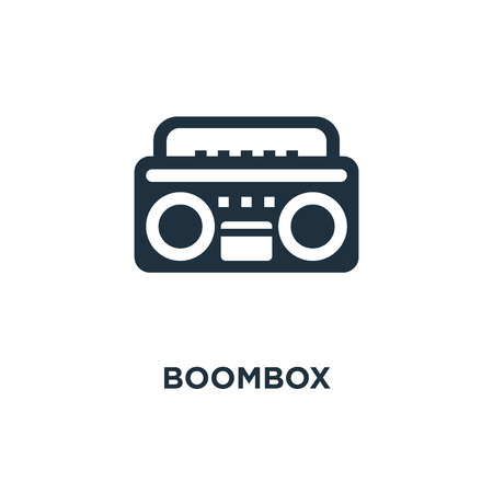 Boombox icon. Black filled vector illustration. Boombox symbol on white background. Can be used in web and mobile. Foto de archivo - 112361162