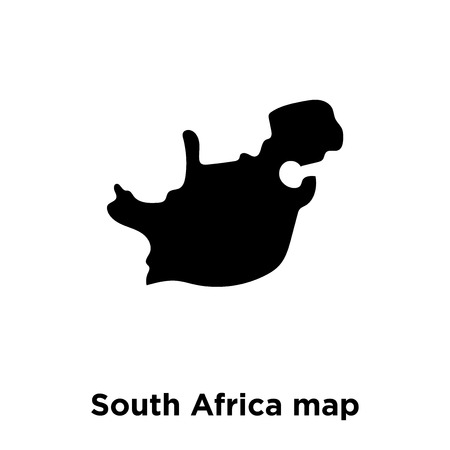 South Africa map icon vector isolated on white background, logo concept of South Africa map sign on transparent background, filled black symbol Illustration