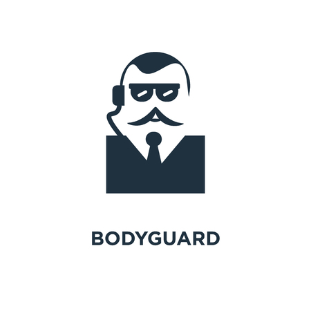 Bodyguard icon. Black filled vector illustration. Bodyguard symbol on white background. Can be used in web and mobile. Stock Vector - 112361546