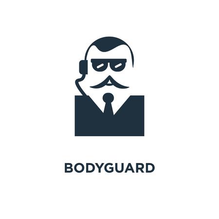 Icône de garde du corps. Illustration vectorielle remplie de noir. Symbole de garde du corps sur fond blanc. Peut être utilisé dans le Web et le mobile.