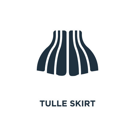 Tulle Skirt icon. Black filled vector illustration. Tulle Skirt symbol on white background. Can be used in web and mobile.