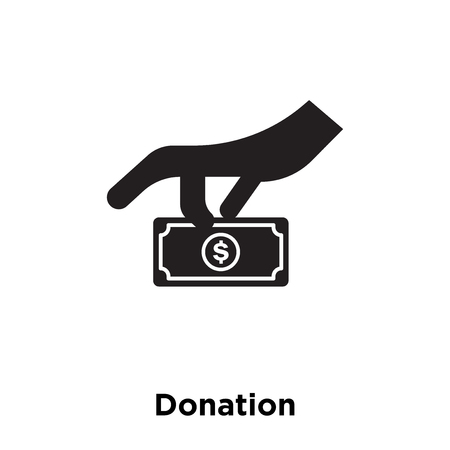 Donation icon vector isolated on white background, logo concept of Donation sign on transparent background, filled black symbol