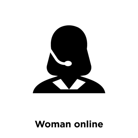 Woman online icon vector isolated on white background, logo concept of Woman online sign on transparent background, filled black symbol