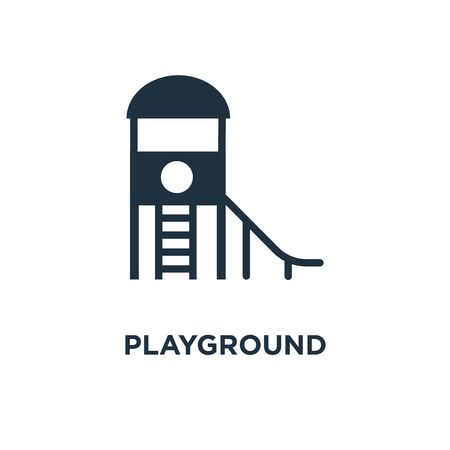 Playground icon. Black filled vector illustration. Playground symbol on white background. Can be used in web and mobile.