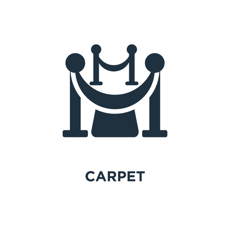 Red Carpet icon. Black filled vector illustration. Red Carpet symbol on white background. Can be used in web and mobile.