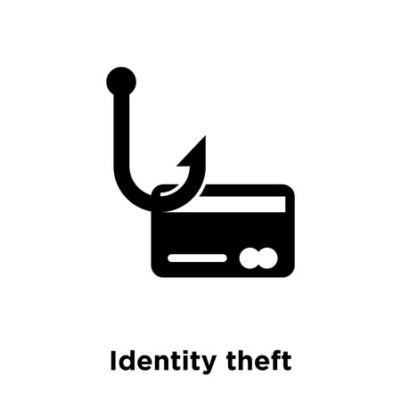 Identity theft icon vector isolated on white background, logo concept of Identity theft sign on transparent background, filled black symbol
