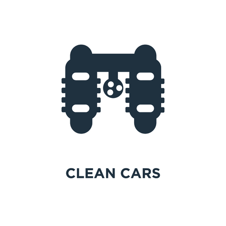 Clean cars icon. Black filled vector illustration. Clean cars symbol on white background. Can be used in web and mobile.