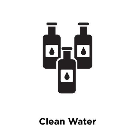 Clean Water icon vector isolated on white background, logo concept of Clean Water sign on transparent background, filled black symbol Illustration
