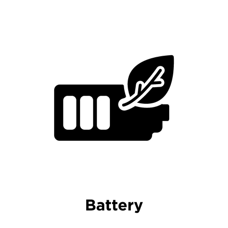 Battery icon vector isolated on white background, logo concept of Battery sign on transparent background, filled black symbol