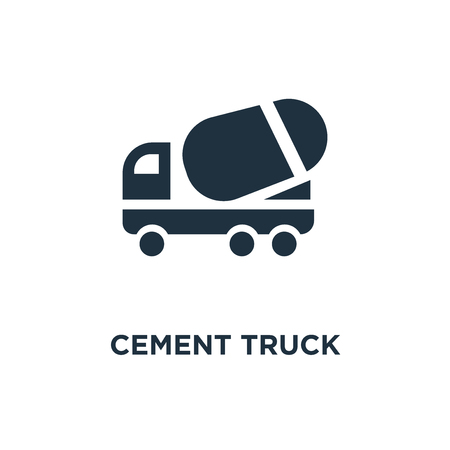 Cement Truck icon. Black filled vector illustration. Cement Truck symbol on white background. Can be used in web and mobile.
