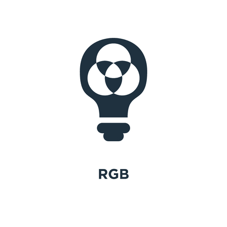 Rgb icon. Black filled vector illustration. Rgb symbol on white background. Can be used in web and mobile.