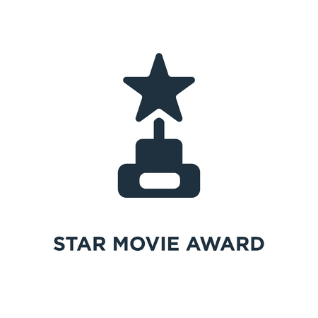 Star Movie Award icon. Black filled vector illustration. Star Movie Award symbol on white background. Can be used in web and mobile.