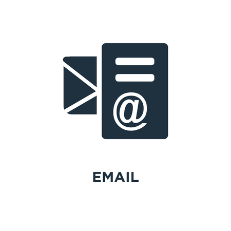 Email icon. Black filled vector illustration. Email symbol on white background. Can be used in web and mobile.  イラスト・ベクター素材