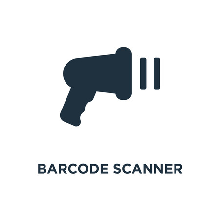 Barcode scanner icon. Black filled vector illustration. Barcode scanner symbol on white background. Can be used in web and mobile.