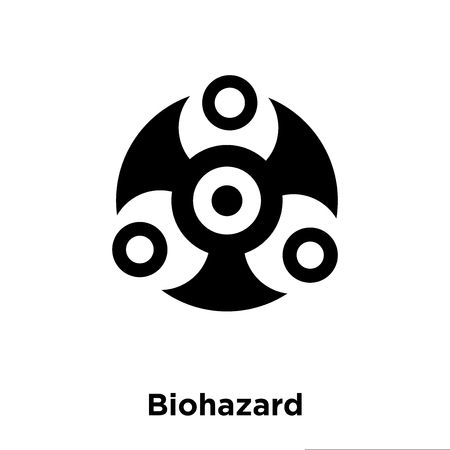 Biohazard icon vector isolated on white background, logo concept of Biohazard sign on transparent background, filled black symbol