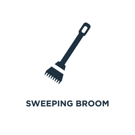 Sweeping Broom icon. Black filled vector illustration. Sweeping Broom symbol on white background. Can be used in web and mobile.