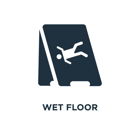 Wet floor icon. Black filled vector illustration. Wet floor symbol on white background. Can be used in web and mobile. Illustration