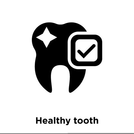 Healthy tooth icon vector isolated on white background, logo concept of Healthy tooth sign on transparent background, filled black symbol