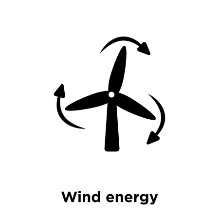 Wind energy icon vector isolated on white background, logo concept of Wind energy sign on transparent background, filled black symbol