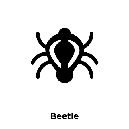 Beetle icon vector isolated on white background, logo concept of Beetle sign on transparent background, filled black symbol Illustration