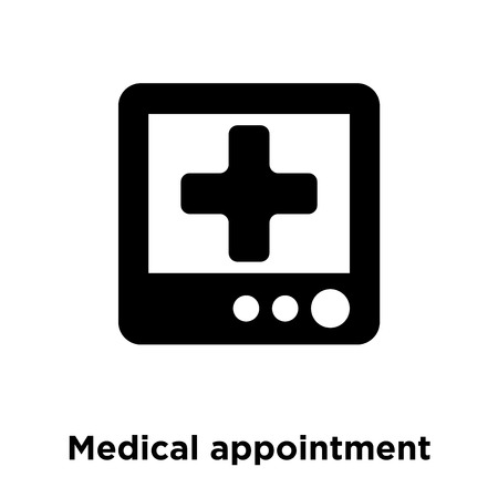 Medical appointment icon vector isolated on white background, logo concept of Medical appointment sign on transparent background, filled black symbol Vectores