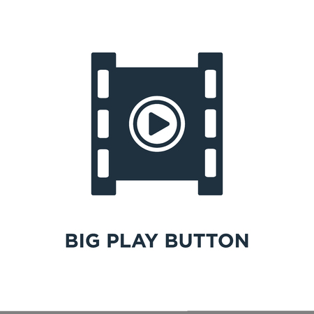 Big Play Button icon. Black filled vector illustration. Big Play Button symbol on white background. Can be used in web and mobile.