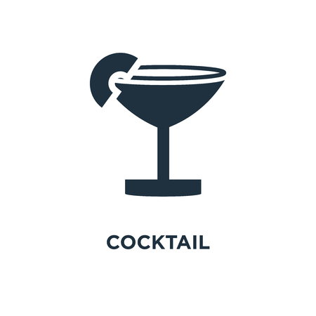 Cocktail icon. Black filled vector illustration. Cocktail symbol on white background. Can be used in web and mobile. 向量圖像