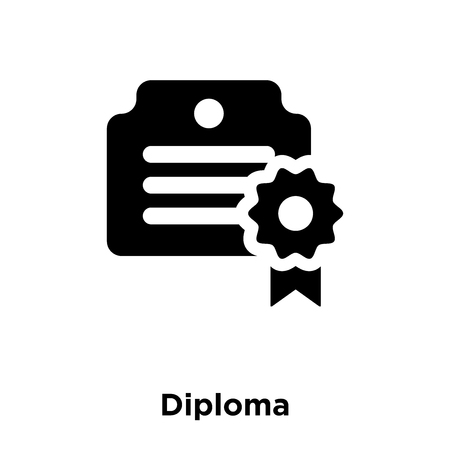 Diploma icon vector isolated on white background, logo concept of Diploma sign on transparent background, filled black symbol