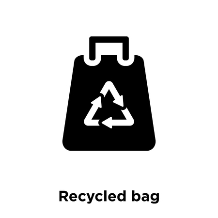 Recycled bag icon vector isolated on white background, logo concept of Recycled bag sign on transparent background, filled black symbol