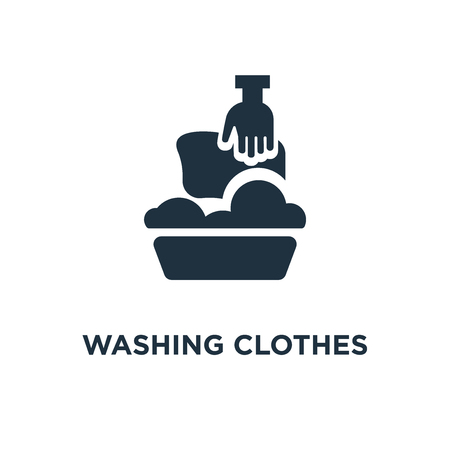 Washing clothes icon. Black filled vector illustration. Washing clothes symbol on white background. Can be used in web and mobile.