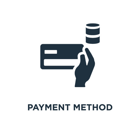 Payment method icon. Black filled vector illustration. Payment method symbol on white background. Can be used in web and mobile.