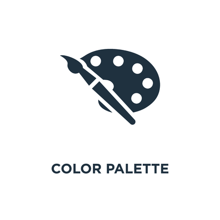 Color palette icon. Black filled vector illustration. Color palette symbol on white background. Can be used in web and mobile.