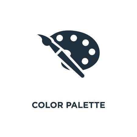 Ikona palety kolorów. Ilustracja wektorowa czarne wypełnione. Symbol palety kolorów na białym tle. Może być używany w sieci i na urządzeniach mobilnych.