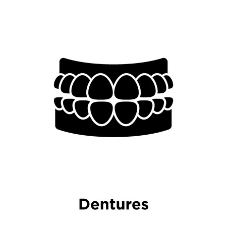 Dentures icon vector isolated on white background, logo concept of Dentures sign on transparent background, filled black symbol