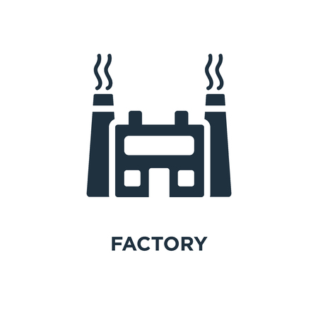 Factory icon. Black filled vector illustration. Factory symbol on white background. Can be used in web and mobile.