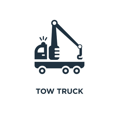 Tow truck icon. Black filled vector illustration. Tow truck symbol on white background. Can be used in web and mobile. Stock Vector - 112624764