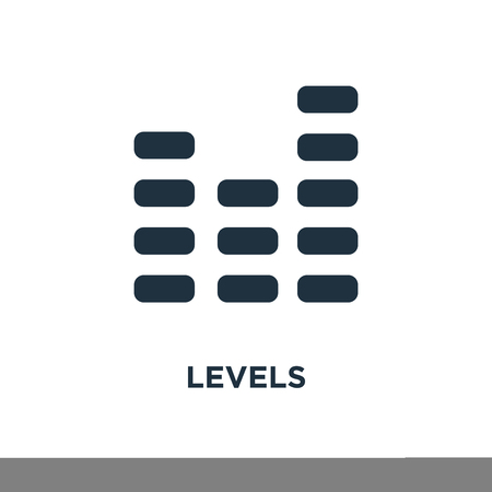 Levels icon. Black filled vector illustration. Levels symbol on white background. Can be used in web and mobile.
