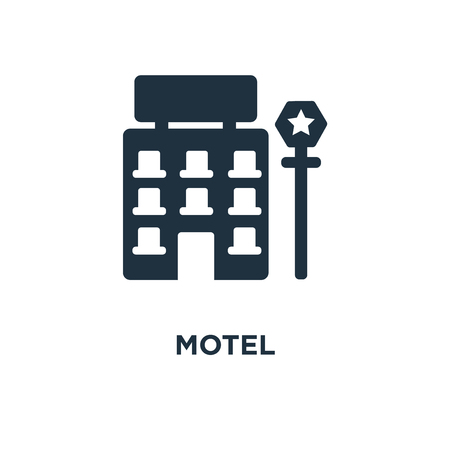 Motel icon. Black filled vector illustration. Motel symbol on white background. Can be used in web and mobile.