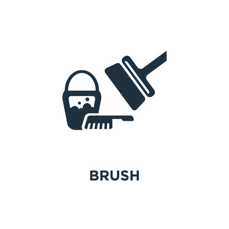 Brush icon. Black filled vector illustration. Brush symbol on white background. Can be used in web and mobile. Vectores