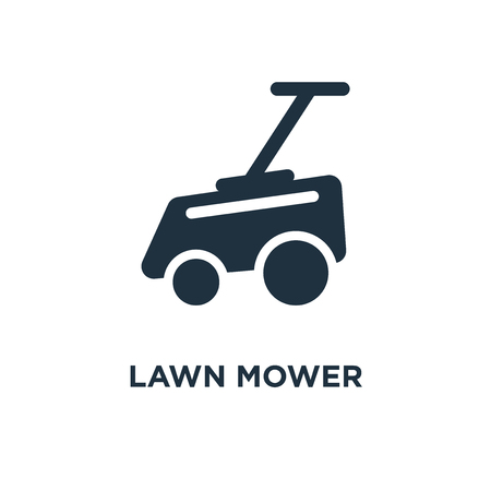 Lawn mower icon. Black filled vector illustration. Lawn mower symbol on white background. Can be used in web and mobile.