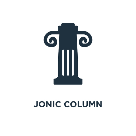 Jonic Column icon. Black filled vector illustration. Jonic Column symbol on white background. Can be used in web and mobile.