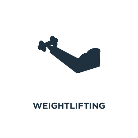 Weightlifting icon. Black filled vector illustration. Weightlifting symbol on white background. Can be used in web and mobile. Stock Illustratie